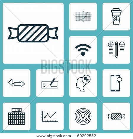 Set Of 12 Universal Editable Icons. Can Be Used For Web, Mobile And App Design. Includes Elements Such As Messaging, Decision Making, Changes Graph And More.