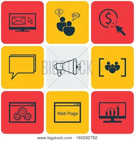 Set Of 9 Advertising Icons. Can Be Used For Web, Mobile, UI And Infographic Design. Includes Elements Such As Research, Performance, Target And More.