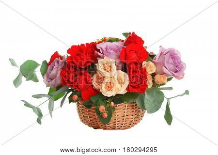 Beautiful roses bouquet, isolated on white