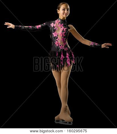 Young girl figure skater (isolated version)