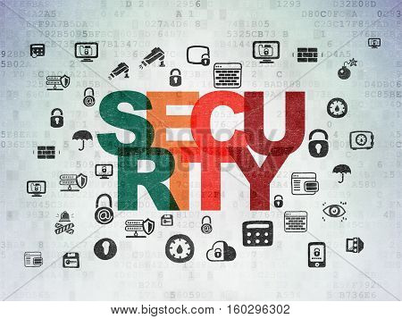 Safety concept: Painted multicolor text Security on Digital Data Paper background with  Hand Drawn Security Icons