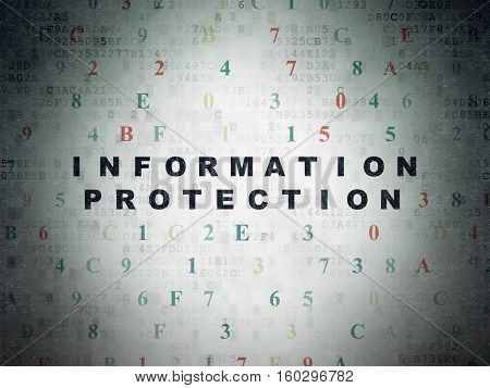 Privacy concept: Painted black text Information Protection on Digital Data Paper background with Hexadecimal Code