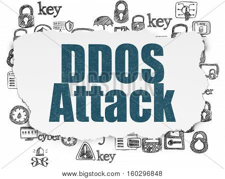 Privacy concept: Painted blue text DDOS Attack on Torn Paper background with  Hand Drawn Security Icons