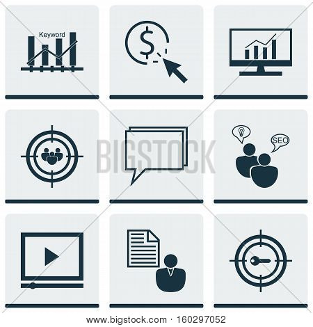 Set Of 9 Marketing Icons. Can Be Used For Web, Mobile, UI And Infographic Design. Includes Elements Such As Dynamics, Keyword, Advertising And More.