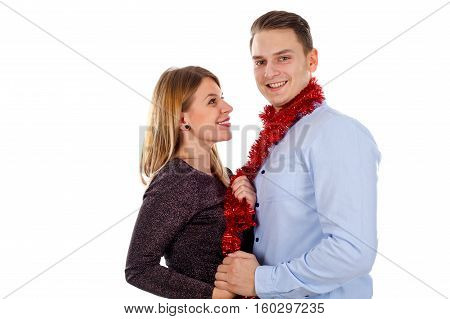 Picture of a perfect young couple having fun in the studio