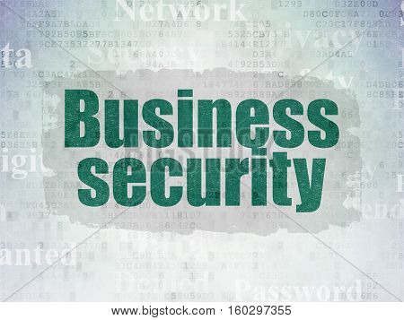 Safety concept: Painted green text Business Security on Digital Data Paper background with   Tag Cloud