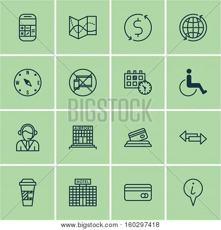 Set Of 16 Travel Icons. Can Be Used For Web, Mobile, UI And Infographic Design. Includes Elements Such As Center, Debit, Paralyzed And More.