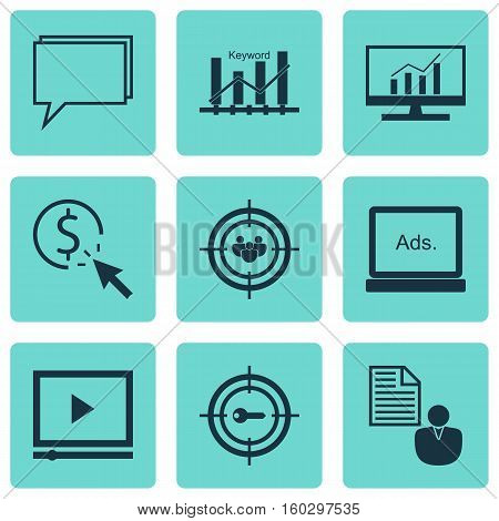 Set Of 9 Marketing Icons. Can Be Used For Web, Mobile, UI And Infographic Design. Includes Elements Such As Digital, Display, Analytics And More.