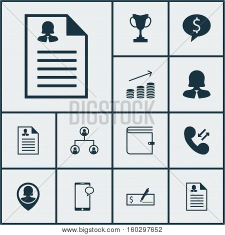 Set Of 12 Management Icons. Can Be Used For Web, Mobile, UI And Infographic Design. Includes Elements Such As Phone, Cellular, Employee And More.