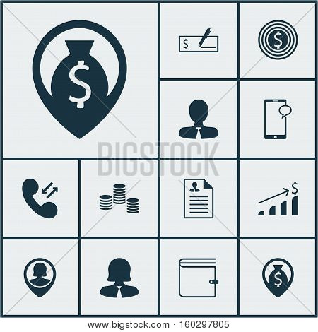 Set Of 12 Hr Icons. Can Be Used For Web, Mobile, UI And Infographic Design. Includes Elements Such As Cellular, Goal, Bank And More.