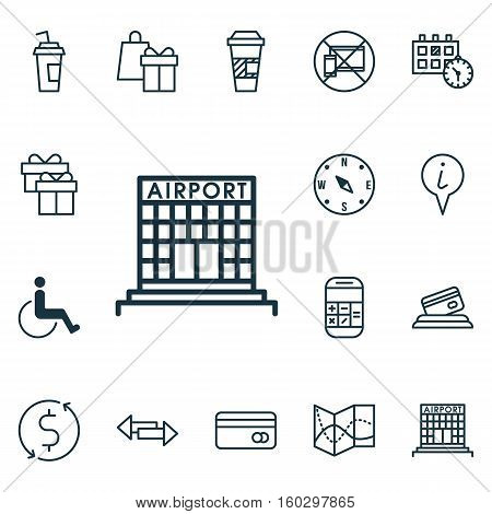 Set Of 16 Travel Icons. Can Be Used For Web, Mobile, UI And Infographic Design. Includes Elements Such As Building, Dollar, Drink And More.