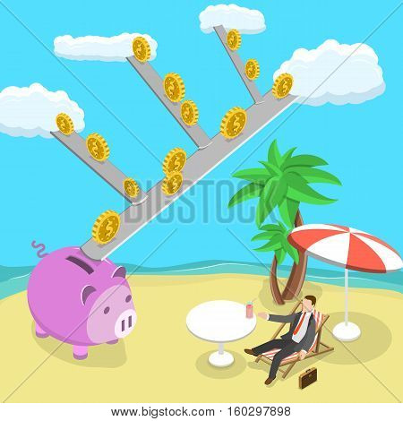 Passive income flat isometric vector illustration. Man is lying on the beach while the money are rolling down from the clouds to his piggy bank. Dividends, royalties, financial freedom.