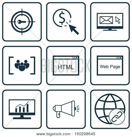 Set Of 9 Advertising Icons. Can Be Used For Web, Mobile, UI And Infographic Design. Includes Elements Such As Matching, Newsletter, Target And More.