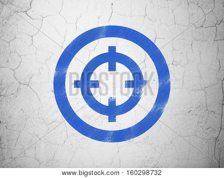 Finance concept: Blue Target on textured concrete wall background
