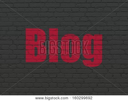 Web development concept: Painted red text Blog on Black Brick wall background