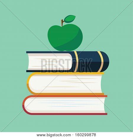 School book apple education flat logo icon vector stock