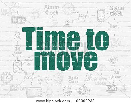 Time concept: Painted green text Time to Move on White Brick wall background with Scheme Of Hand Drawing Time Icons