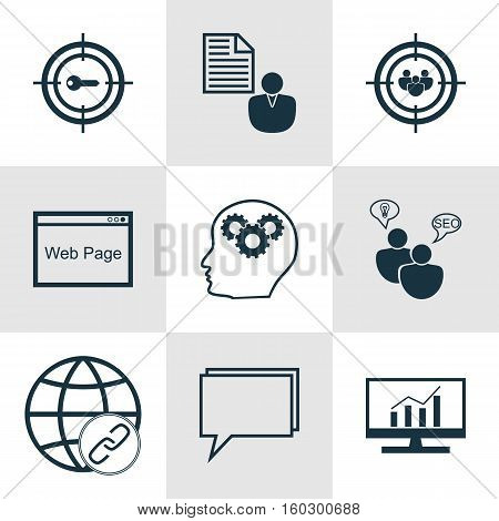 Set Of 9 SEO Icons. Can Be Used For Web, Mobile, UI And Infographic Design. Includes Elements Such As Matching, SEO, Focus And More.