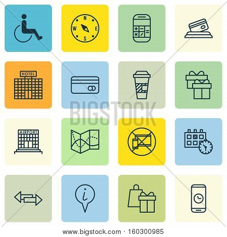 Set Of 16 Traveling Icons. Can Be Used For Web, Mobile, UI And Infographic Design. Includes Elements Such As Pointer, Phone, Crossroad And More.