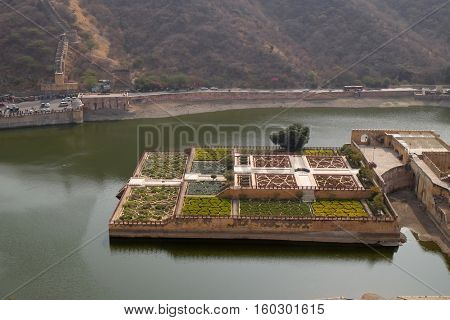 JAIPUR, INDIA - FEBRUARY 16: Beautiful gardens in Amber Fort, Jaipur, Rajasthan, India, on February 16, 2016.
