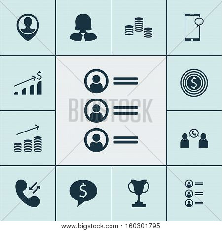 Set Of 12 Management Icons. Can Be Used For Web, Mobile, UI And Infographic Design. Includes Elements Such As Pin, Chat, Increase And More.