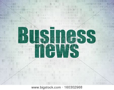News concept: Painted green word Business News on Digital Data Paper background