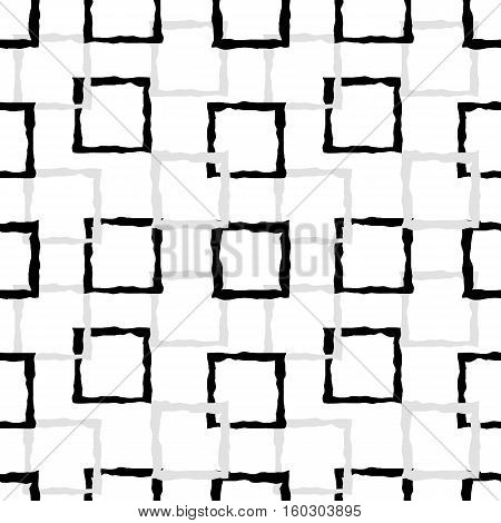 Pattern of black and grey uneven squares. Vector seamless pattern