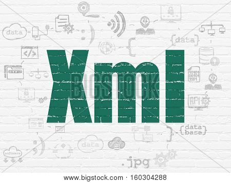 Software concept: Painted green text Xml on White Brick wall background with Scheme Of Hand Drawn Programming Icons