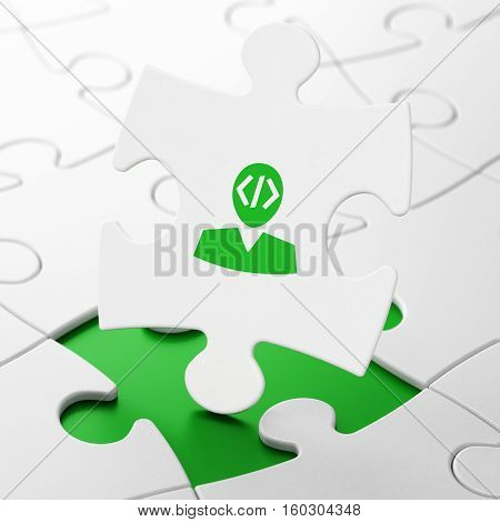 Software concept: Programmer on White puzzle pieces background, 3D rendering
