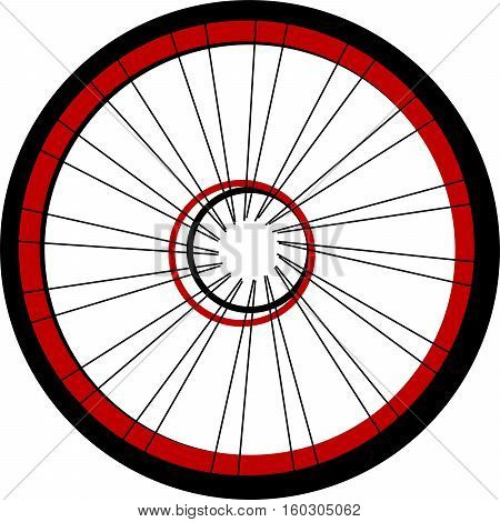 Bicycle wheel isolated on white background, black and red