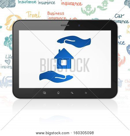 Insurance concept: Tablet Computer with  blue House And Palm icon on display,  Hand Drawn Insurance Icons background, 3D rendering
