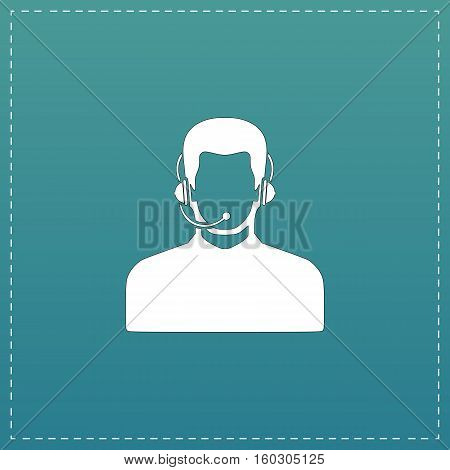 Call center operator with headset. White flat icon with black stroke on blue background