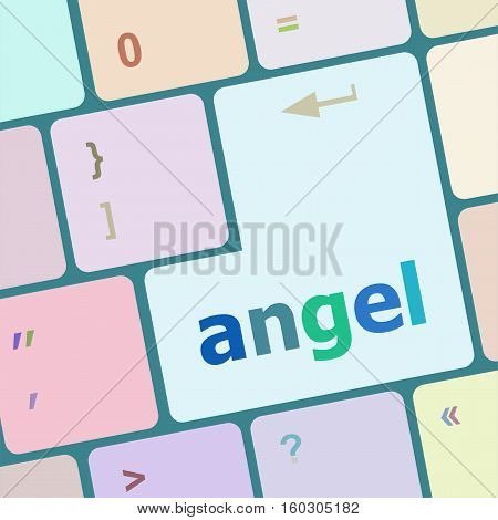 Keyboard With White Enter Button, Angel Word On It