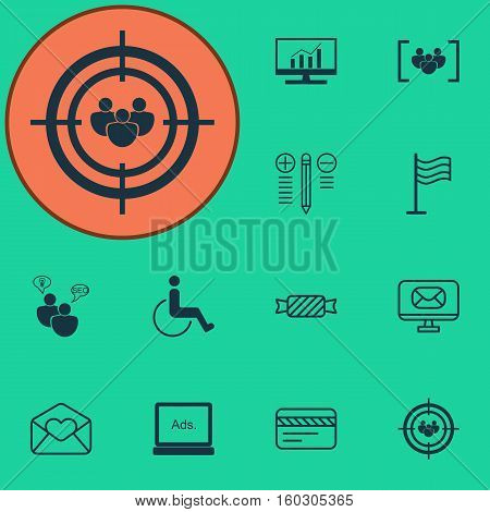 Set Of 12 Universal Editable Icons. Can Be Used For Web, Mobile And App Design. Includes Elements Such As Digital Media, Email, Focus Group And More.