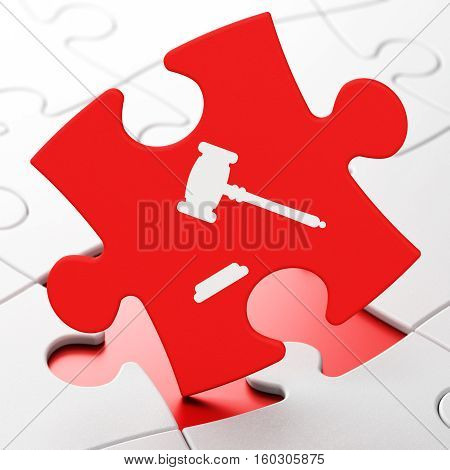 Law concept: Gavel on Red puzzle pieces background, 3D rendering