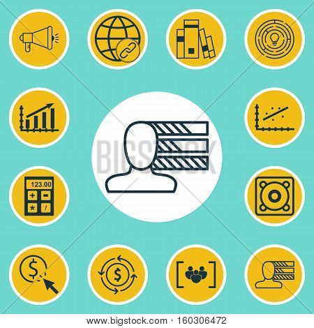 Set Of 12 Universal Editable Icons. Can Be Used For Web, Mobile And App Design. Includes Elements Such As Money Recycle, Media Campaign, Innovation And More.