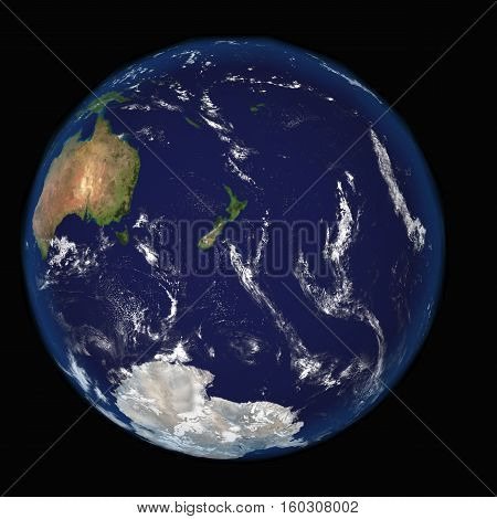 Highly detailed planet Earth. Part of the Pacific Ocean, New Zealand 3d