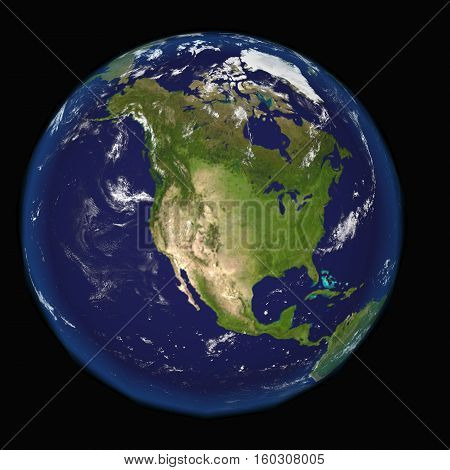 North America from space 3d render illustration