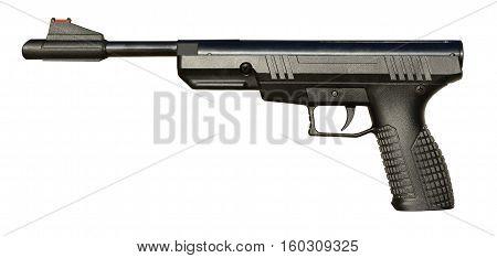 Black airgun pistol isolated on white background.