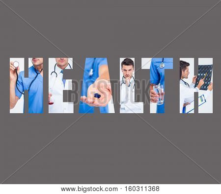 Word HEALTH - concept fabric texture with doctors in background