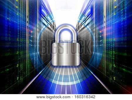 Network safety concept server closed with padlock, database security.