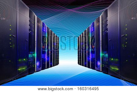modern data center with a futuristic floor and ceiling