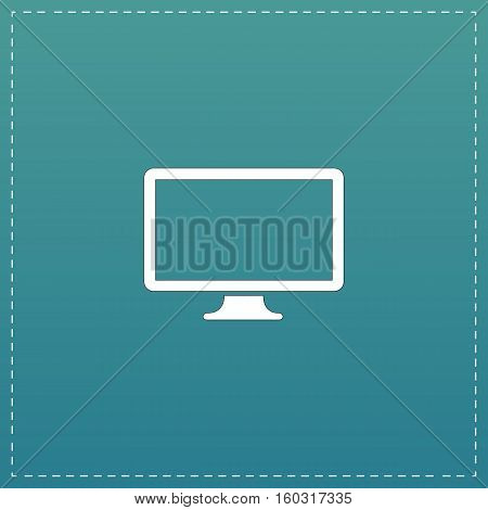 Simple monitor. White flat icon with black stroke on blue background