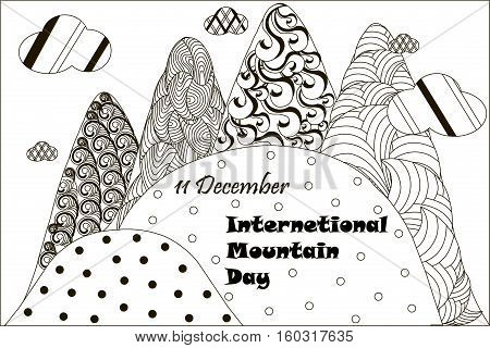 Black and white banner 11 December International Mountain day, hand drawn zentangle, stock vector illustration