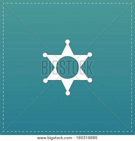 Sheriff star. White flat icon with black stroke on blue background