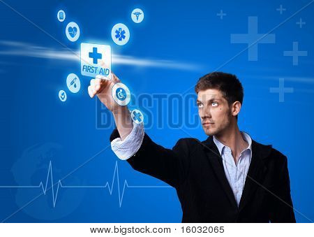 Doctor Pressing Digital Button