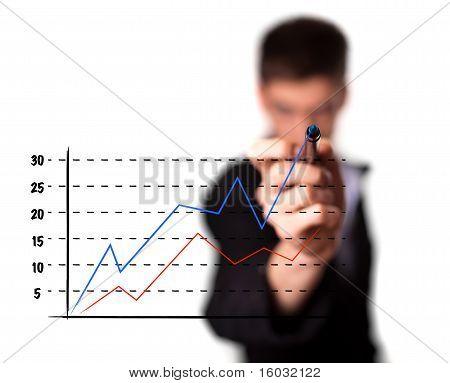 Businessman Drawing A Graph On A Glass Screen