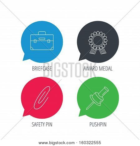 Colored speech bubbles. Award medal, pushpin and briefcase icons. Safety pin linear sign. Flat web buttons with linear icons. Vector