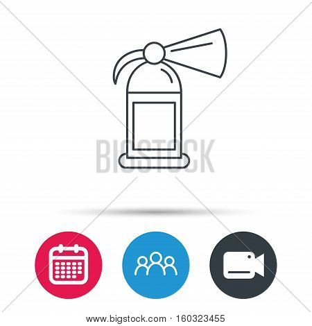 Fire extinguisher icon. Flame protection sign. Group of people, video cam and calendar icons. Vector