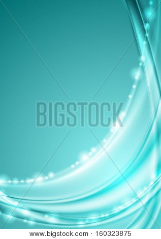 Shiny turquoise abstract waves background